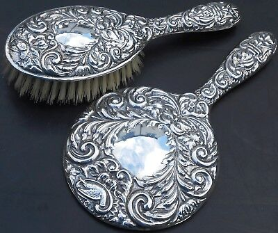 Sterling Silver Green Man Hand Mirror & Hair Brush - Birmingham 1959