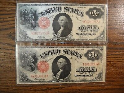 Pair (2) 1917 United States $1 Large Legal Tender Notes. Fine to Very Fine.