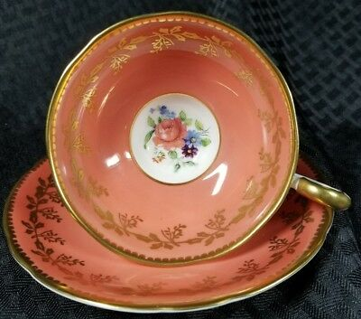 Aynsley Footed Cup & Saucer Orange Gold Overlay Leaves Rose Purple Flowers C1544