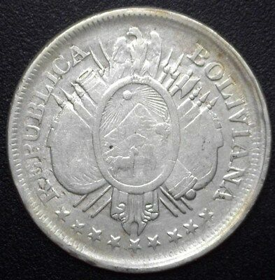 Bolivia 1895-Pts Es Silver 50 Centavos  Nearly Uncirculated