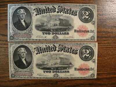 Pair (2) 1917 United States $2 Large Legal Tender Notes. Fine to Very Fine.
