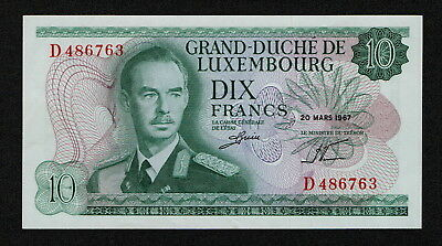LUXEMBOURG (P53a) 10 Francs 1967 aXF