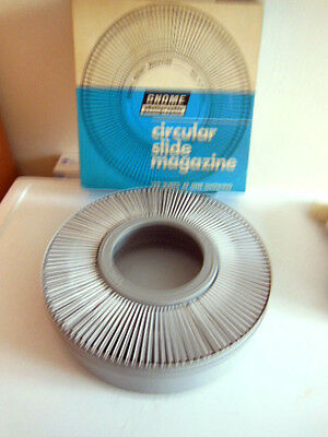 Vintage Gnome Photographic Circular Slide Rotary Magazine/122 Slides In Place