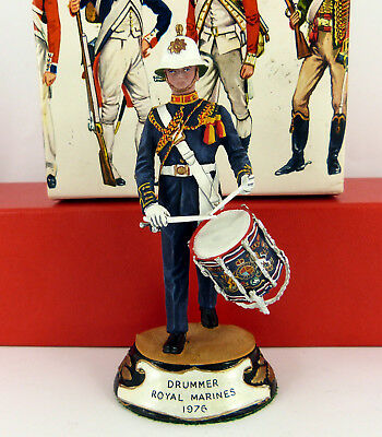 CHAS C STADDEN 90mm STUDIO PAINTED 1976 ROYAL MARINES DRUMMER FIGURE ( BOXED