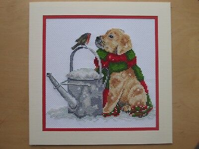 Ex Large Completed Cross Stitch Card- PUPPY & BIRD