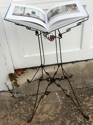Antique Victorian RARE Iron Metal Book Stand Bible Holder Wire Work Foldable **