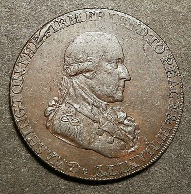 1795 Washington Grate Halfpenny Lg. Buttons Re Nice Ef #c244