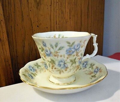 Royal Albert BLUE GOWN Teacup Tea Cup & Saucer Set England Rose Chintz Series