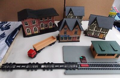 Vintage Lima card/plastic houses and station from old train set from the 80's