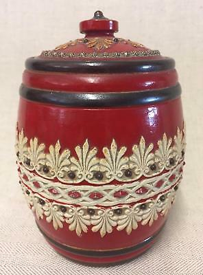 Doulton Lambeth 19Th Century Jar  Lidded Pot - Rare Painted Red - Unusual