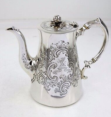 Fabulous IRISH SILVER COFFEE POT, Dublin 1845 Le Bas CREST & MOTTO Stewart Clan