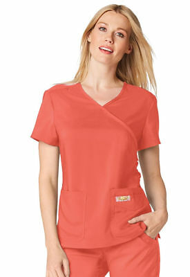 "Koi Tech Style 351 V-Neck Scrub Mock Wrap Top in ""Rose"", Size M"