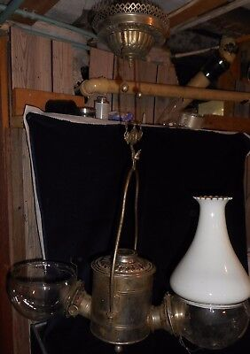 """Antique Double Hanging """"angle"""" Kerosene Lamp With  Ceiling Extension"""