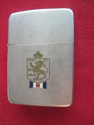 ZIPPO LIGHTER 2032695. DIEU ET MON DROIT. British Royal Coat of Arms 1936-1950