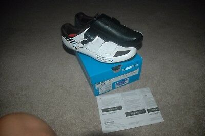 Shimano SH-R171W carbon road cycling shoes white & black size 44 US 9.7 NEW