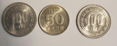 50 Won and 100 Won 1971-1973 Republic of Korea 3 Coin Lot