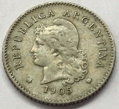 1905 Republica Argentina 10 Centavos Liberty Coin * Free Bubble Ship