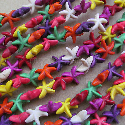 50pc 15.5mm Howlite Turquoise Starfish shape Beads Wholesale Mix colour PJ025