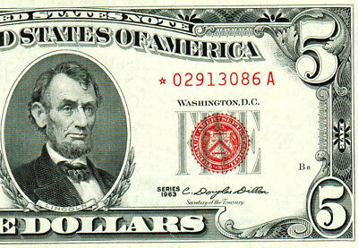 **STAR** $5 1963 Red Seal **United States Note ** MORE CURRENCY FOR SALE**