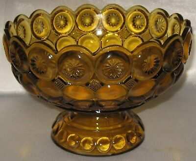 LE Smith Moon and Stars Amber Large Footed Bowl 8.25""