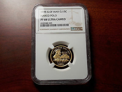 1998 Isle of Man MARCO POLO 1/5 Crown Proof Gold coin NGC PF-68 Ultra Cameo