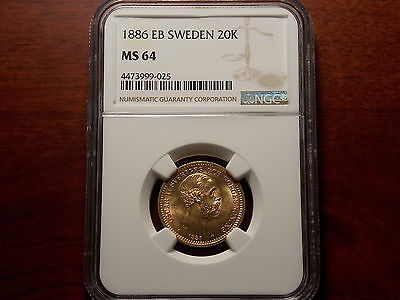 1886 EB Sweden 20 Kronor Gold coin NGC MS-64