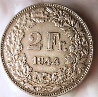 1944 SWITZERLAND 2 FRANCS - High Grade WW2 SILVER Coin - Strong Value - Lot #116