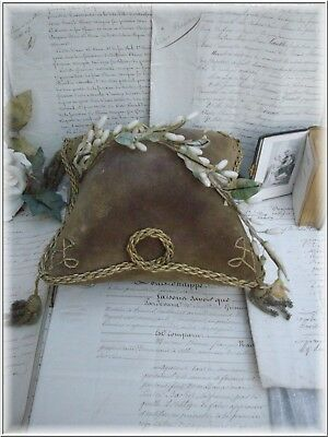 ANTIQUE FRENCH  DISPLAY STAND VELVET CUSHION FOR WEDDING CROWN WAX FLOWERS 19th