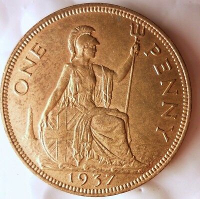1937 GREAT BRITAIN PENNY - AU - High Grade Strong Value Coin - Lot #116