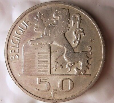 1948 BELGIUM 50 FRANCS - Hard to Find Silver Coin - Excellent - Lot #116