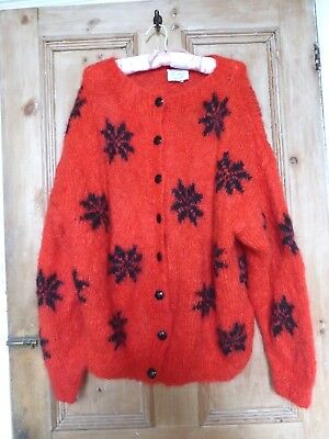 VINTAGE 1980'S Hand Knitted red mohair cardigan snowflakes Supersize slouchy