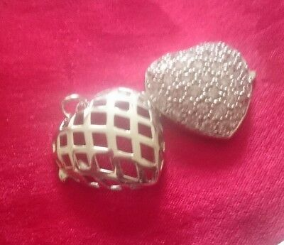 2 Sided Chunky New Hallmarked Sterling Silver Locket Pendant, 7.5 Grams