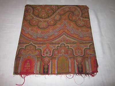 "Antique Wool Paisley Scarf or Piano Cloth 67"" x 69"""