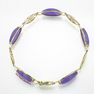 "14k Yellow Gold Four Partitions of ""Longevity"" Symbol Lavender Jade Bracelet TPJ"