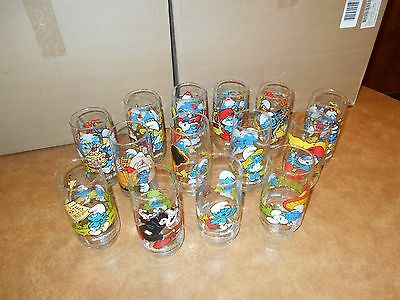 Complete Set 14 Vintage 1982-1983 Smurf Glasses