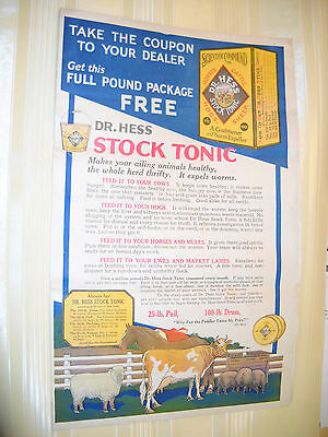 DR HESS STOCK TONIC Antique medicinal Farm Animal REMEDY AD MAILER SIGN CHROMO