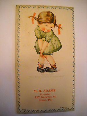 GROCERIES 1919 Antique unused blotter CHROMOLITHOGRAPH girl likes boy KANE PA