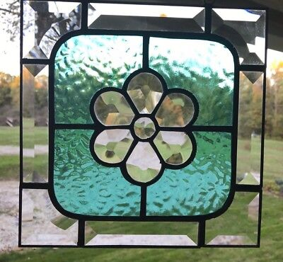 Stained Glass Victorian Flower Panel- Aqua Cobblestone