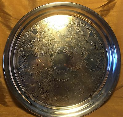 """Vtg 12.75"""" FORBES SILVER CO Round Etched Silverplate Serving / Tea Service Tray"""