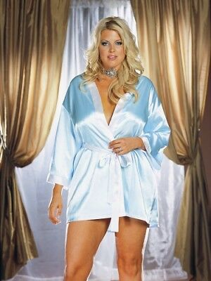 Dreamgirl Plus size  Reversible Bridal Satin  Robe 1X/2X