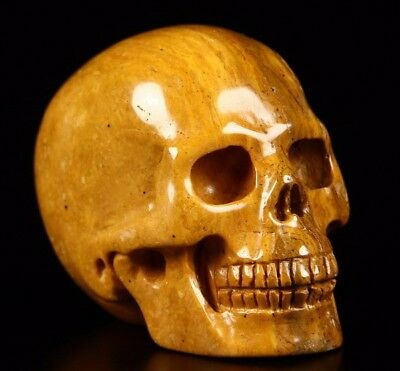 "2.1"" YELLOW JASPER Carved Crystal Skull, Realistic, Crystal Healing"