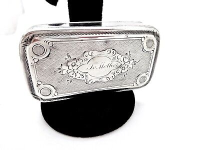 Antique French A.dubois Floral Engraved Sterling 950 Silver Snuff Box,to Mother