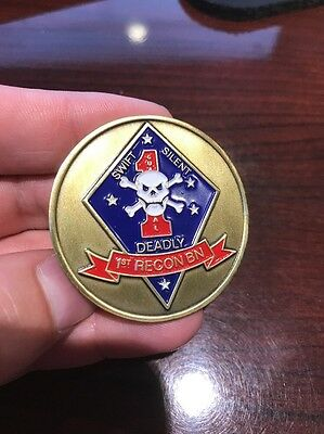 Amazing Detail US Marine Corps Swift Silent Deadly 1st Recon BN Challenge Coin.