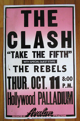 The Clash Vintage Concert Gig Poster Take The 5Th Hollywood Paladium 1979 Rare