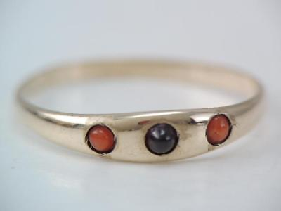 Antique Victorian 10K Gold Coral & Garnet Cab Stone Band Ring Sz 4 Look $9.99