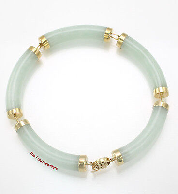 14k Yellow Gold Oriental Design Clasp 5 Segments Apple Green Jade Bracelet TPJ