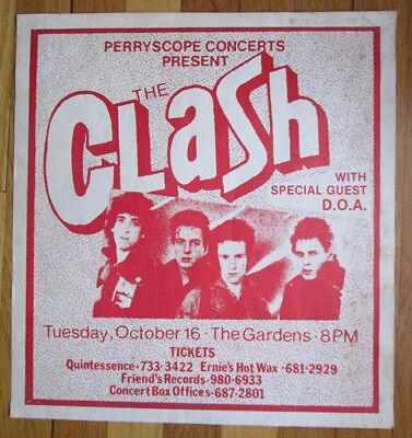 The Clash Vintage Concert Gig Poster The Gardens Vancouver B.c October 1979 Rare