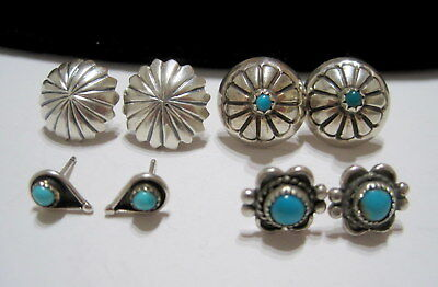 FOUR PAIRS of VINTAGE SW Native TURQUOISE & SILVER Pierced EARRINGS (4) *ESTATE*