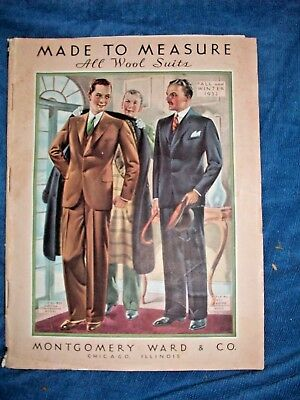 1932 Fall & Winter Men's Suits Montgomery Ward Catalog W/ Cloth Samples & Order