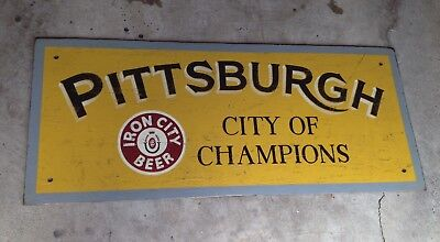 5ft PITTSBURGH City of Champions IRON CITY BEER wood bar sign STEELERS PENGUINS